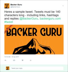 Here is a Backer Club tweet sample